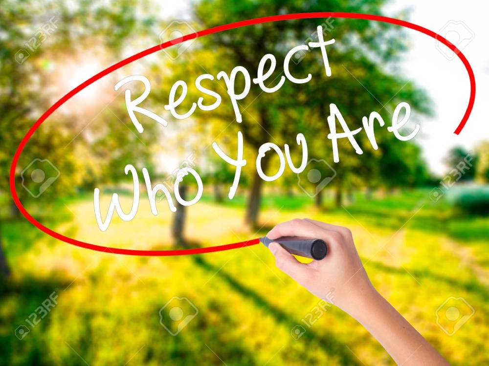 Woman Hand Writing Respect Who You Are with a marker over transp